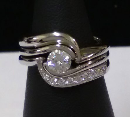 Interlocking Palladium Diamond Ring - The Village Goldsmiths Cheshire