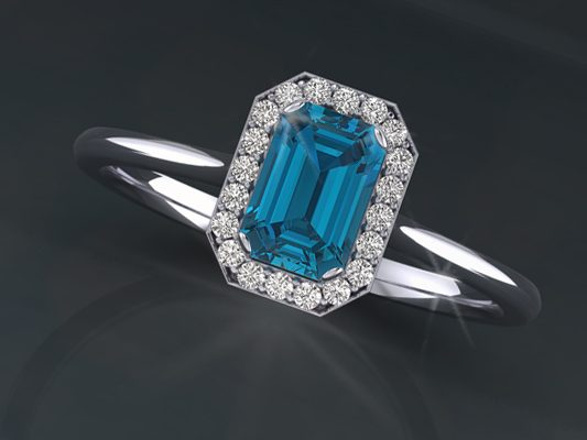 Emerald Topaz Diamond Ring