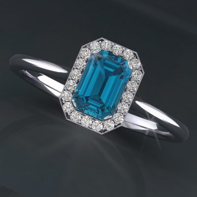 Emerald Topaz Halo Diamond Ring